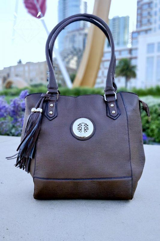 chocolate vegan leather bucket tote handbag