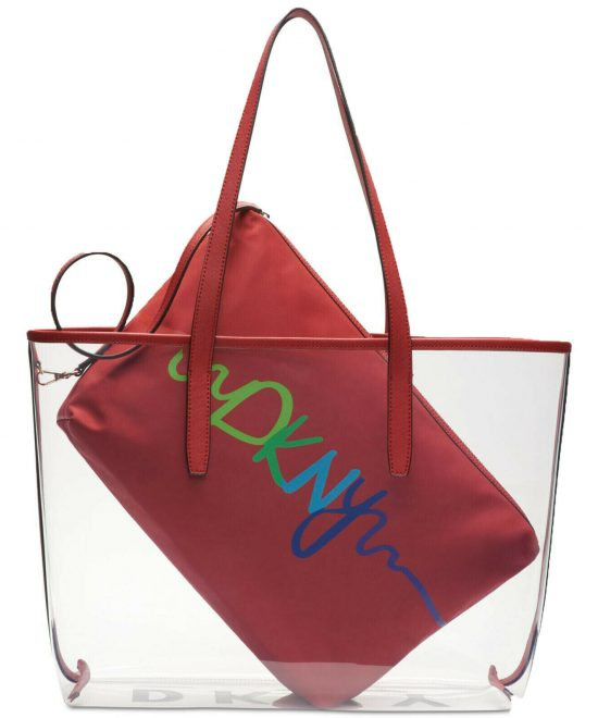 DKNY-Brayden-Transparent-Tote-Red