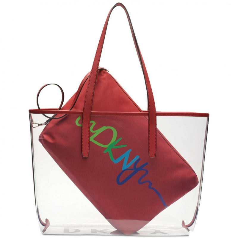 DKNY-Brayden-Transparent-Tote-Red
