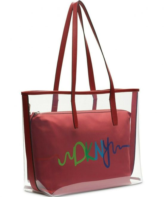 DKNY-Brayden-Transparent-Tote-Red Front