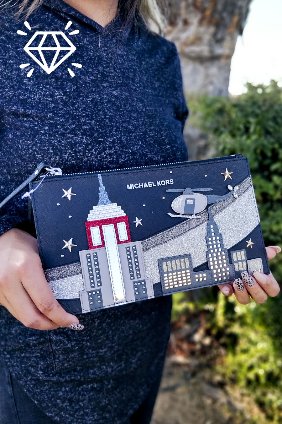 Michael Kors New York Skyline Clutch